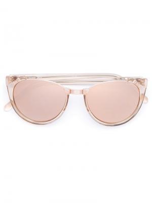 Солнцезащитные очки в круглой оправе Linda Farrow. Цвет: жёлтый и оранжевый