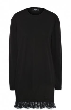 Мини-платье прямого кроя с кружевной оборкой Dsquared2. Цвет: черный