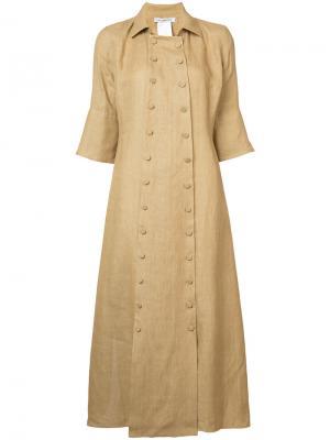 Платье на пуговицах с короткими рукавами Cherevichkiotvichki. Цвет: коричневый