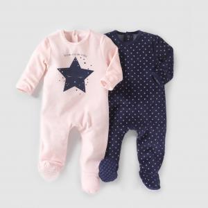 2 пижамы из велюра, 0 месяцев - 3 года R mini. Цвет: темно-синий  + розовый
