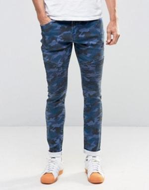 Liquor & Poker Камуфляжные джинсы скинни в байкерском стиле. Цвет: темно-синий