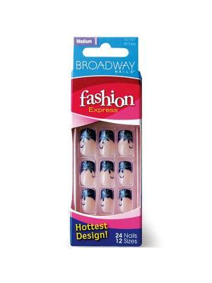 Broadway Набор накладных ногтей без клея, средней длины Синий френч 24шт Kiss. Цвет: синий, прозрачный