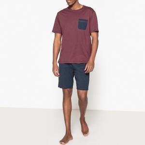 Пижама с шортами La Redoute Collections. Цвет: синий/серый меланж