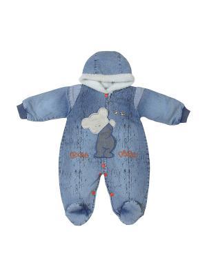 Комбинезон на меховой подкладке M-BABY. Цвет: голубой, оранжевый