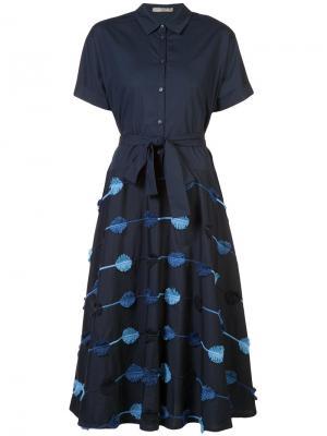 Flared shirt dress Lela Rose. Цвет: синий
