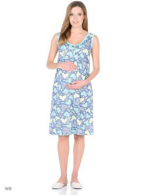 Ночная сорочка для беременных и кормления 40 недель. Цвет: синий, зеленый