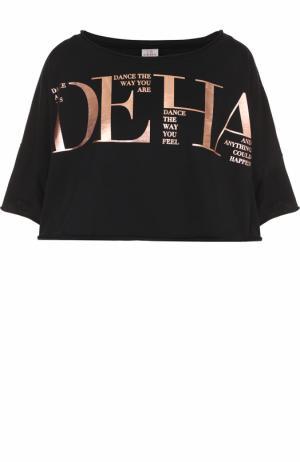 Укороченная футболка с металлизированным логотипом бренды Deha. Цвет: черный