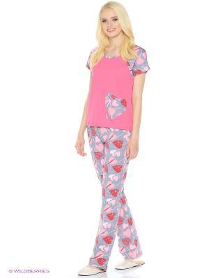 Комплект домашней одежды (футболка, брюки) HomeLike. Цвет: розовый, серый
