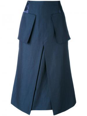 Юбка А-силуэта с накладными карманами Aalto. Цвет: синий