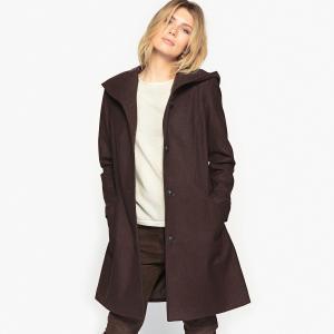 Пальто с капюшоном 57 % шерсти ANNE WEYBURN. Цвет: каштановый