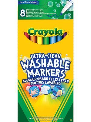 8 тонких смываемых фломастеров Супер чисто Crayola. Цвет: желтый