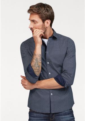 Рубашка BRUNO BANANI. Цвет: темно-синий с рисунком