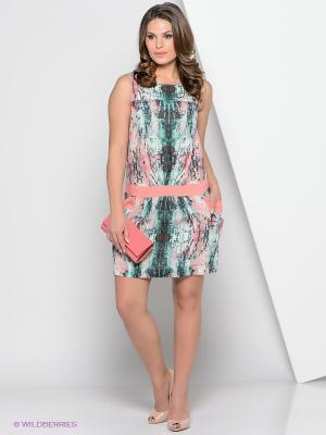 Платье КАЛIНКА. Цвет: зеленый, светло-коралловый