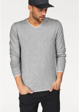 Пуловер JOHN DEVIN. Цвет: светло-серый/меланжевый, темно-синий