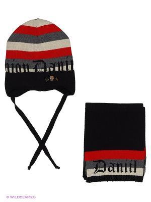 Комплект (шапка и шарф) Dan&Dani. Цвет: черный