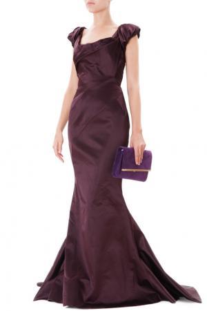 Шелковое платье со шлейфом Zac Posen. Цвет: баклажановый