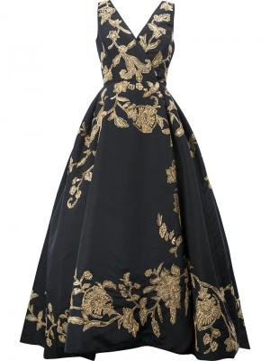 Вечернее платье с цветочной вышивкой Oscar de la Renta. Цвет: чёрный