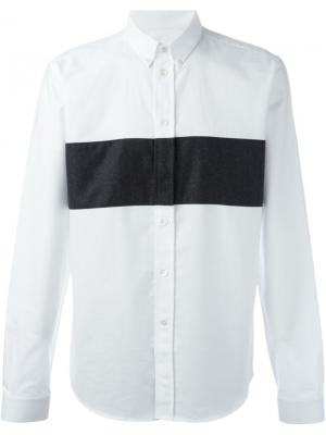 Рубашка с контрастной полоской Ami Alexandre Mattiussi. Цвет: белый