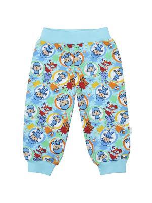 Брюки Веселый малыш. Цвет: бирюзовый, голубой, светло-оранжевый