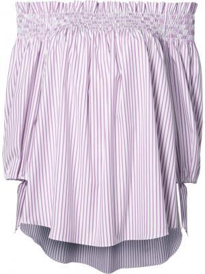 Полосатая блузка с открытыми плечами Caroline Constas. Цвет: розовый и фиолетовый