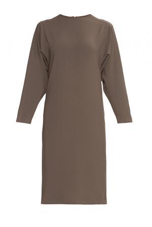 Платье из искусственного шелка с вискозой 175923 Cyrille Gassiline. Цвет: коричневый