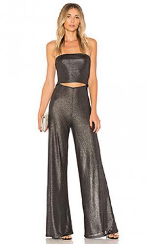 Комбинезон с широкими брюками и разрезом on the level h:ours. Цвет: металлический серебряный