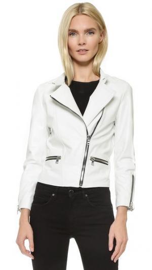 Кожаная байкерская куртка с рукавами три четверти ThePerfext. Цвет: белый