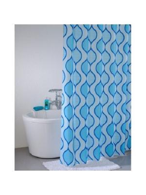 Штора для ванной IDDIS. Цвет: голубой