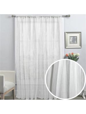 Тюль  Лен с мелкими штрихами 400*270 см белый Amore Mio. Цвет: белый