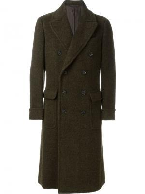 Двубортное пальто Caruso. Цвет: зелёный