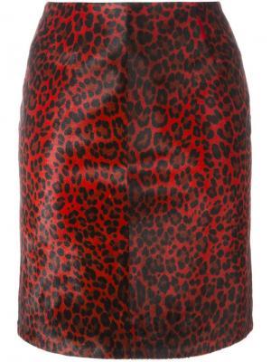 Леопардовая юбка-карандаш Alaïa Vintage. Цвет: красный
