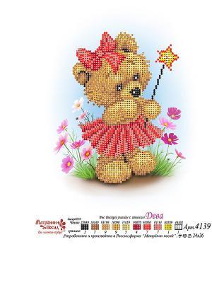 Рисунок на шелке Мишка Дева Матренин Посад. Цвет: коричневый
