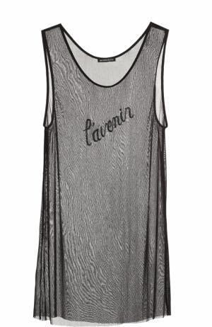 Шелковый полупрозрачный топ с вышивкой бисером Ann Demeulemeester. Цвет: черный