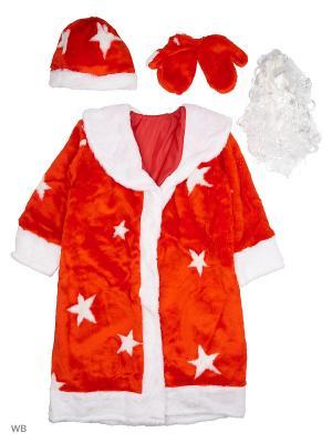 Карнавальный костюм Дед Мороз мех Батик. Цвет: красный