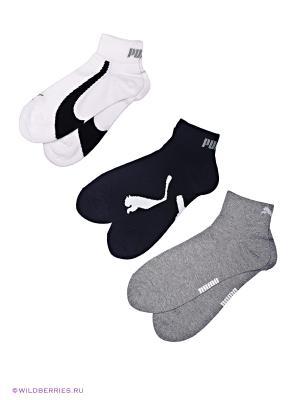 Носки, 3 пары Puma. Цвет: черный, серый, белый