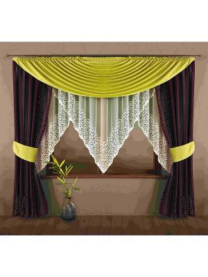 Комплект штор Wisan. Цвет: светло-зеленый, кремовый, темно-коричневый