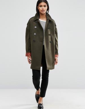 ASOS Свободное пальто-бушлат на контрастной подкладке. Цвет: зеленый