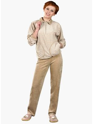 Велюровый костюм Тефия. Цвет: темно-бежевый, молочный