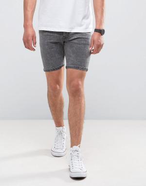 Brave Soul Серые джинсовые шорты с эффектом кислотной стирки. Цвет: серый