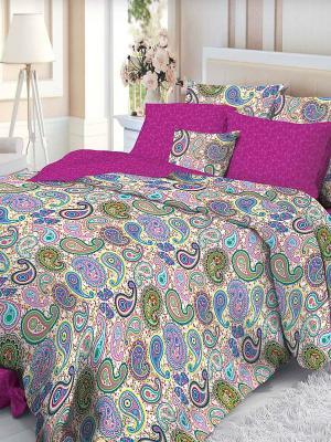 Комплект постельного белья Verossa. Цвет: фуксия, белый, голубой, зеленый