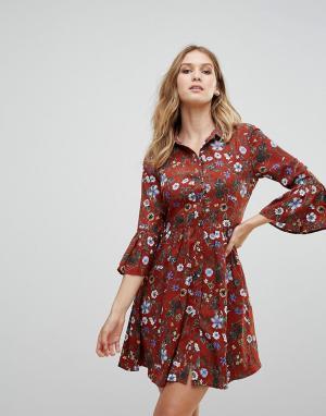 Uttam Boutique Короткое приталенное платье на пуговицах с цветочным принтом Bou. Цвет: красный