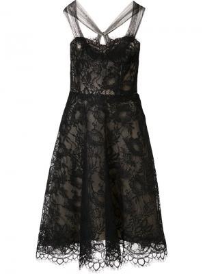 Кружевное платье с цветочным узором Monique Lhuillier. Цвет: чёрный