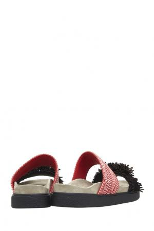 Кожаные сандалии INUIKII. Цвет: розовый, черный