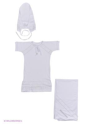 Комплект крестильный для девочки Лео. Цвет: белый