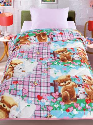 Покрывало-одеяло Мишки и зайка, 140х200см. Облегченное, стеганое, 100% хлопок. Letto. Цвет: розовый, коричневый, голубой