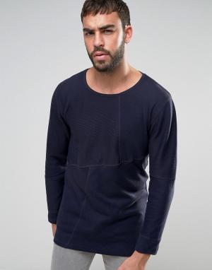 Nudie Jeans Трикотажный джемпер в рубчик с накладками Co Evan. Цвет: темно-синий