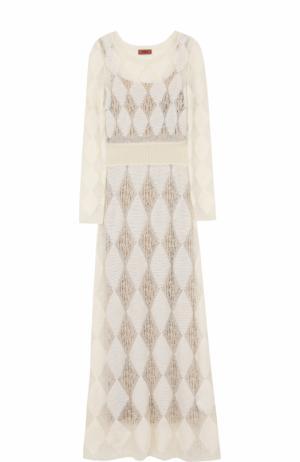 Приталенное вязаное платье-макси с длинным рукавом Missoni. Цвет: молочный