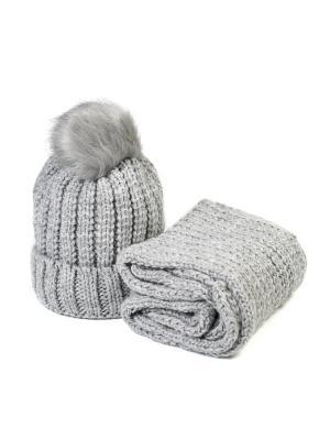 Комплект шапка и снуд Mitya Veselkov. Цвет: серый