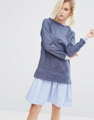 I Love Friday Платье-джемпер 2 в 1 с полосатым подолом стиле рубашки. Цвет: синий