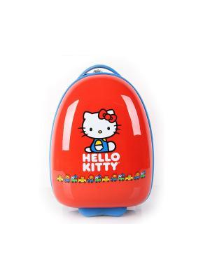 Детский чемодан на колесиках, серия Hello Kitti с паровозиками Heys USA. Цвет: красный